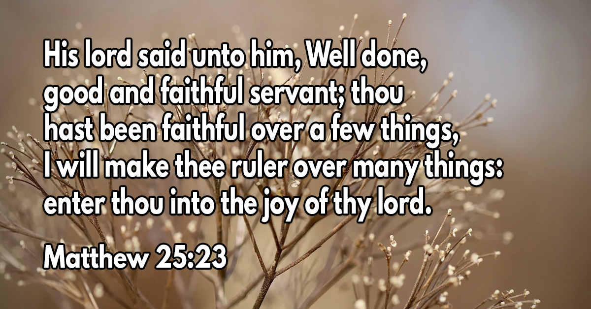 His lord said unto him, Well done, good and faithful servant; thou hast been faithful over a few things, I will make thee ruler over many things: enter thou into the joy of thy lord