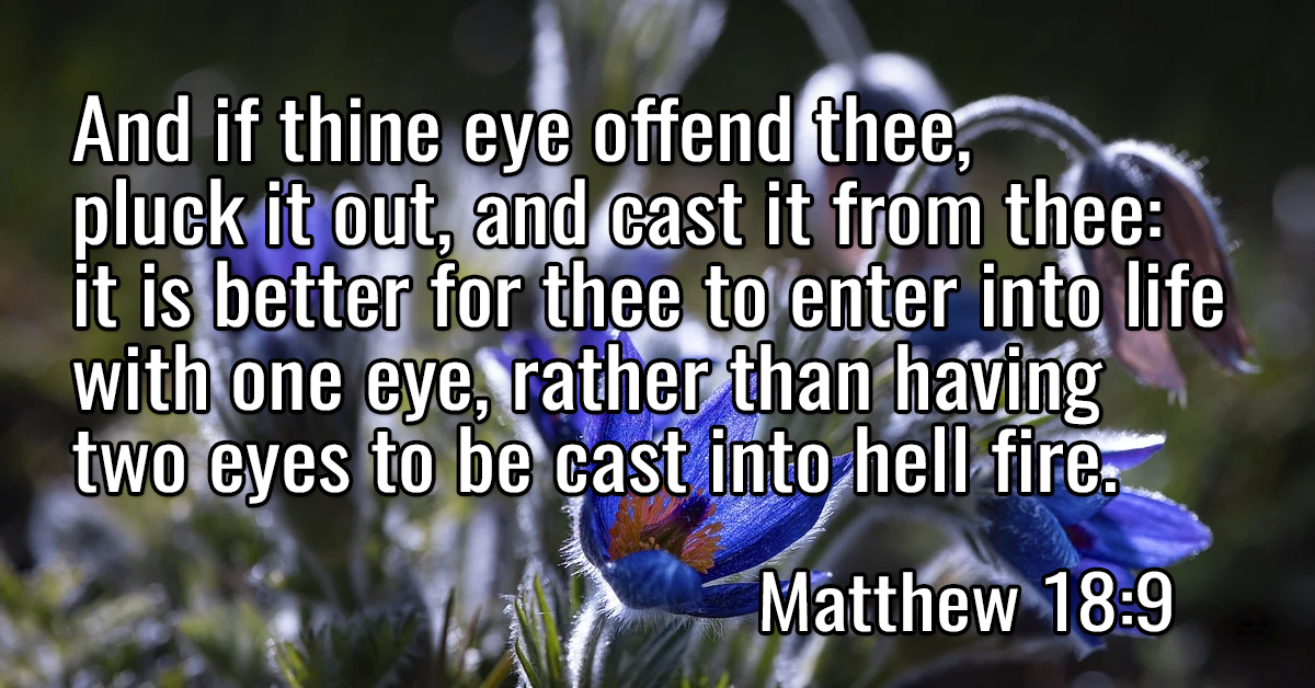 And if thine eye offend thee, pluck it out, and cast it from thee- it is better for thee to enter into life with one eye, rather than having two eyes to be cast into hell fire