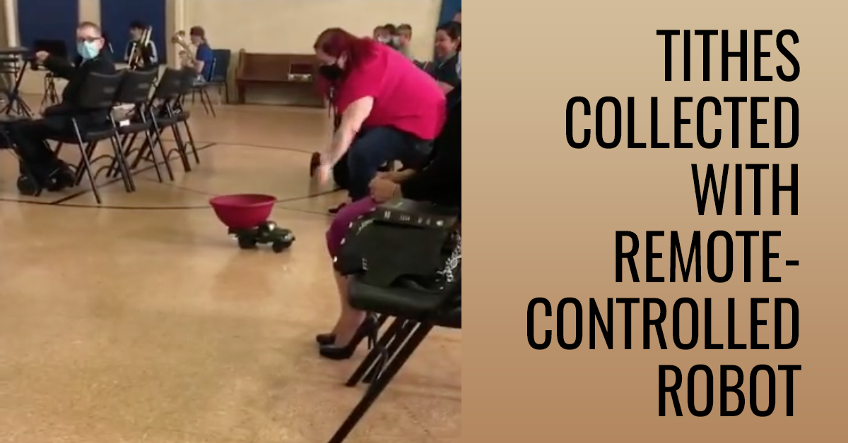 They collect tithes with remote-controlled robot in this church