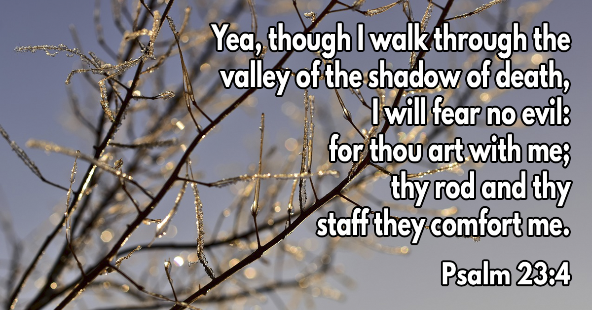 Yea, though I walk through the valley of the shadow of death, I will fear no evil: for thou art with me; thy rod and thy staff they comfort me