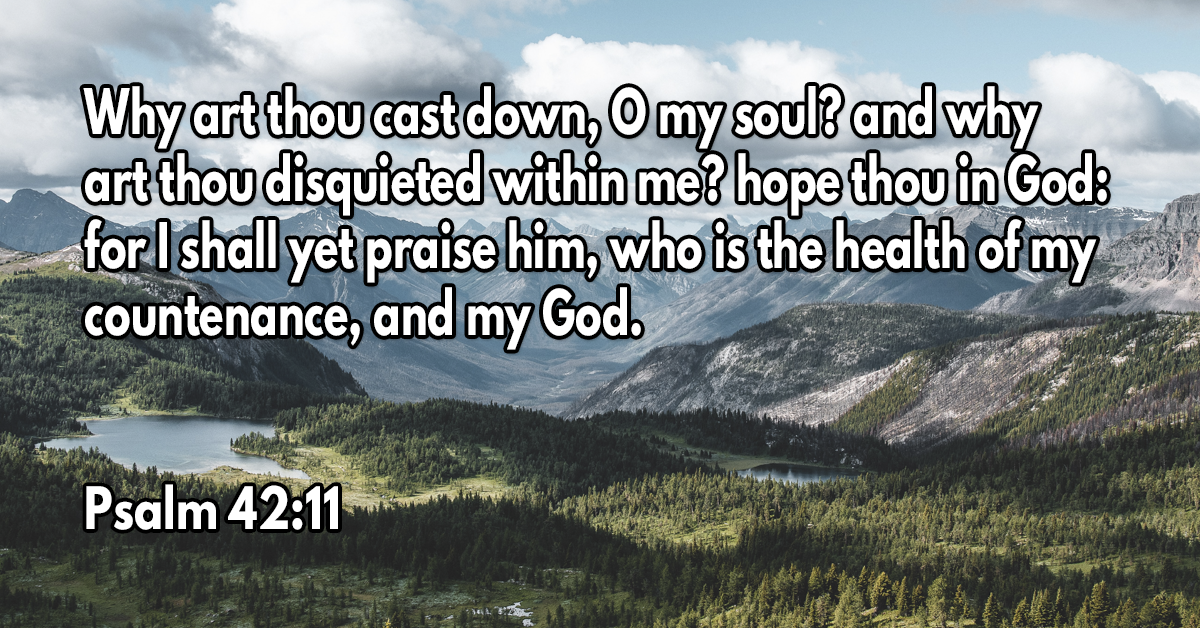 Why art thou cast down, O my soul? and why art thou disquieted within me? hope thou in God- for I shall yet praise him, who is the health of my countenance, and my God