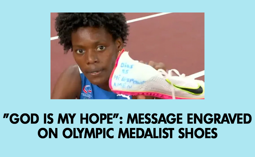 God is my hope: Message engraved on Olympic medalist shoes